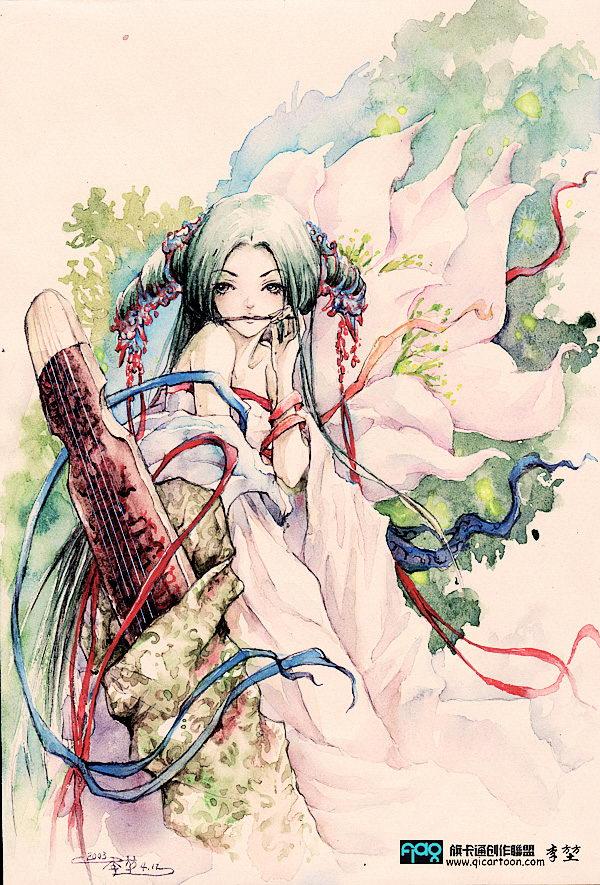 唯美古风插画 含水墨,粉彩,手绘 稀饭的JM不要错过,换头签的好素图片